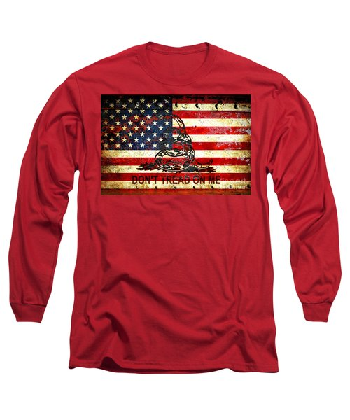 American Flag And Viper On Rusted Metal Door - Don't Tread On Me Long Sleeve T-Shirt by M L C