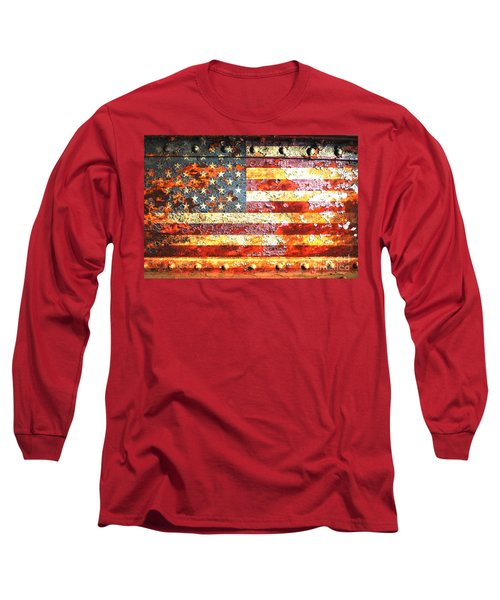 American Flag On Rusted Riveted Metal Door Long Sleeve T-Shirt by M L C