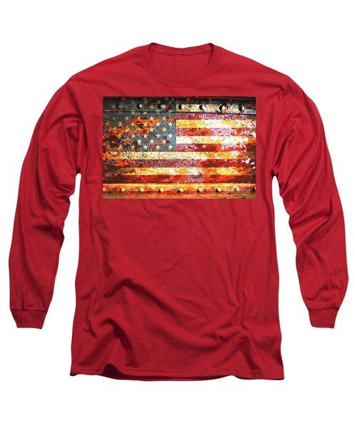 American Flag On Rusted Riveted Metal Door Long Sleeve T-Shirt