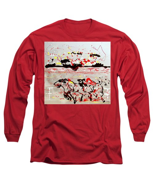 And Down The Stretch They Come Long Sleeve T-Shirt by J R Seymour