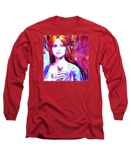 Long Sleeve T-Shirt featuring the painting Angel For All Souls Day by Suzanne Silvir