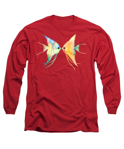 Long Sleeve T-Shirt featuring the painting Angelfish Kissing by Hailey E Herrera