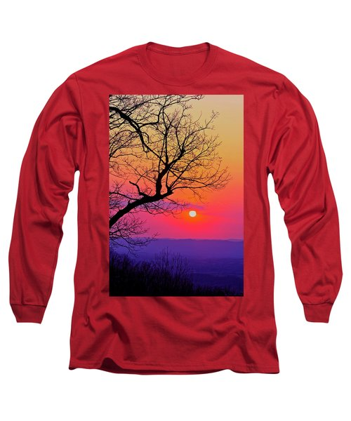 Appalcahian Sunset Tree Silhouette #2 Long Sleeve T-Shirt