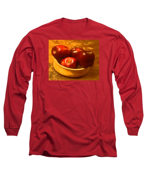 Long Sleeve T-Shirt featuring the digital art Apples In A Bowl by Walter Chamberlain