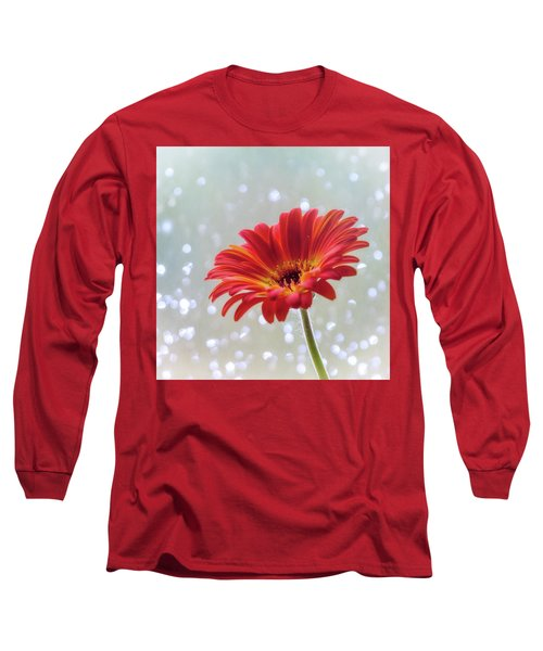 Long Sleeve T-Shirt featuring the photograph April Showers Gerbera Daisy Square by Terry DeLuco