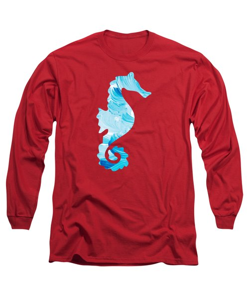 Aqua Abstract Painting Long Sleeve T-Shirt by Christina Rollo