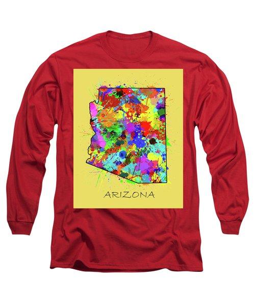 Arizona Map Color Splatter 3 Long Sleeve T-Shirt