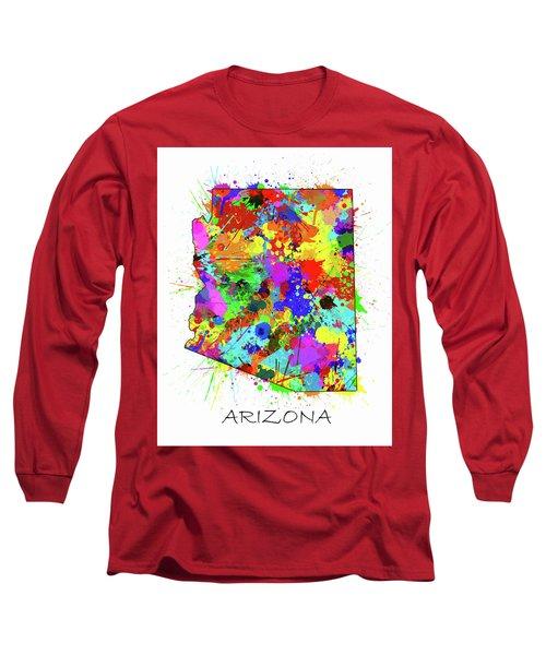 Arizona Map Color Splatter Long Sleeve T-Shirt