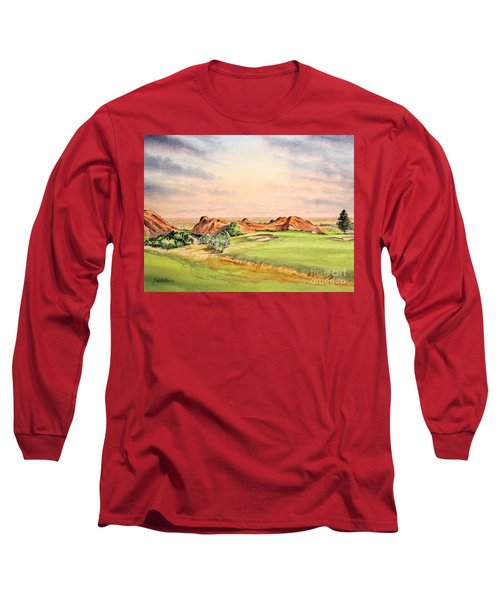 Long Sleeve T-Shirt featuring the painting Arrowhead Golf Course Colorado Hole 3 by Bill Holkham