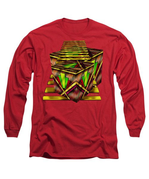 Art Deco Cubes 2 - Transparent Long Sleeve T-Shirt