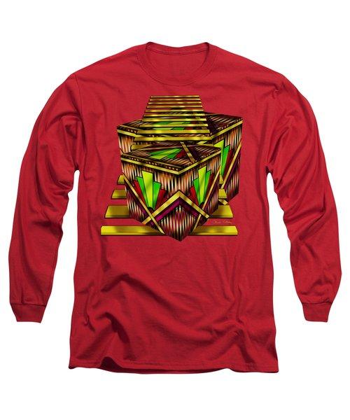 Art Deco Cubes 2 - Transparent Long Sleeve T-Shirt by Chuck Staley