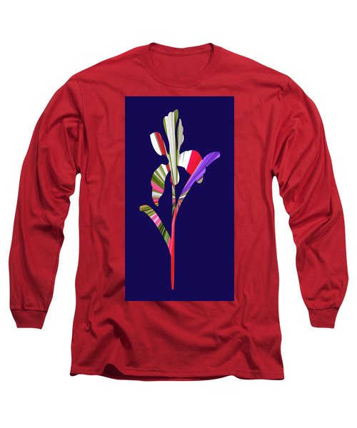 Artsy Flower With Blue Background Long Sleeve T-Shirt