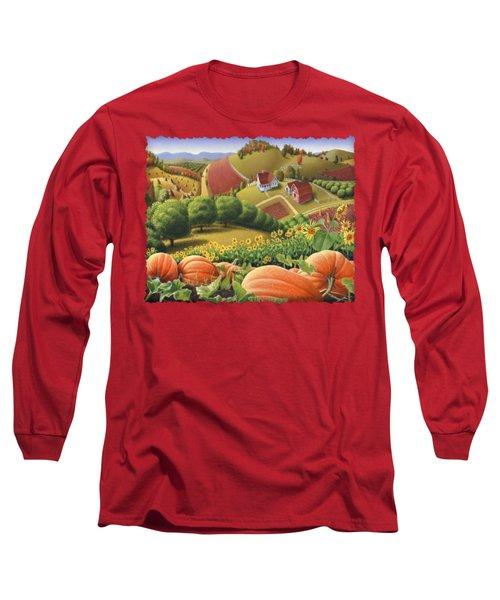 Farm Landscape - Autumn Rural Country Pumpkins Folk Art - Appalachian Americana - Fall Pumpkin Patch Long Sleeve T-Shirt