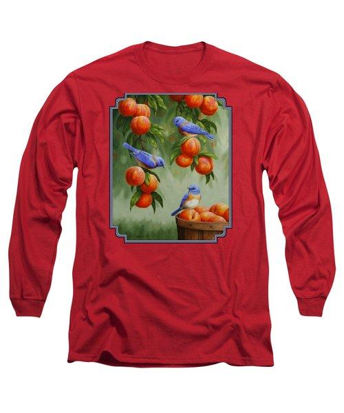 Bird Painting - Bluebirds And Peaches Long Sleeve T-Shirt