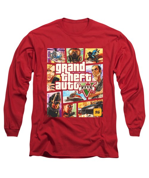 Gta V Box Art Cover Colored Drawing Long Sleeve T-Shirt