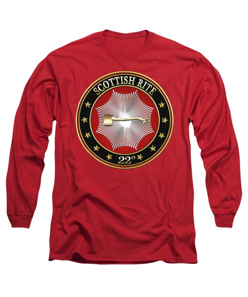 22nd Degree - Knight Of The Royal Axe Jewel On Red Leather Long Sleeve T-Shirt by Serge Averbukh