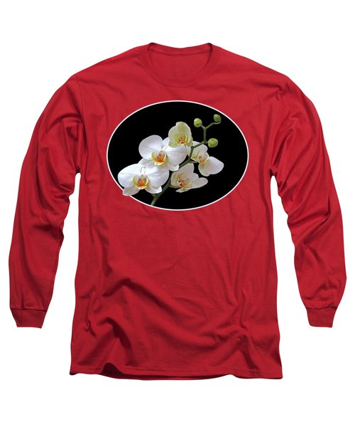Orchids On Black And Red Long Sleeve T-Shirt by Gill Billington
