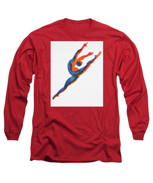 Long Sleeve T-Shirt featuring the painting Ballet Dancer 2 Leaping by Shungaboy X