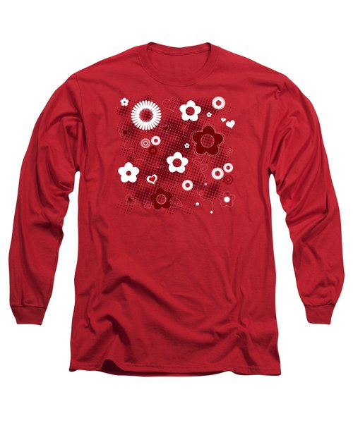 Floral And Hearts Valentine Pattern Long Sleeve T-Shirt by Serena King