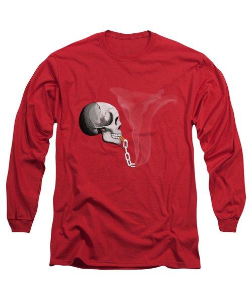 Chain Smoker Skull  Long Sleeve T-Shirt by Keshava Shukla
