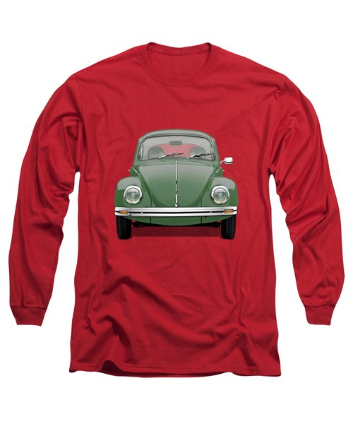 Long Sleeve T-Shirt featuring the digital art Volkswagen Type 1 - Green Volkswagen Beetle On Red Canvas by Serge Averbukh