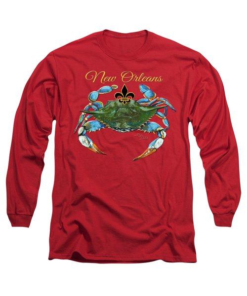 Louisiana Blue On Red Long Sleeve T-Shirt