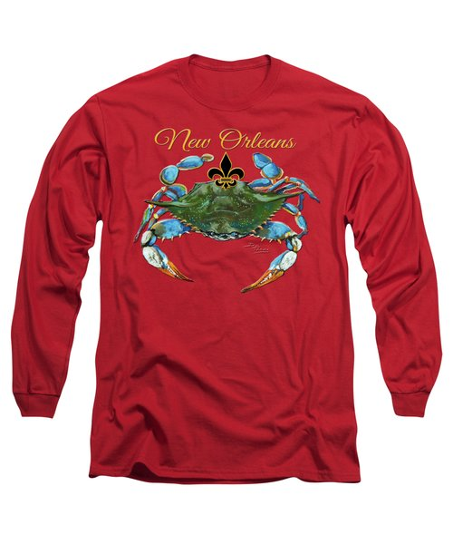 Louisiana Blue On Red Long Sleeve T-Shirt