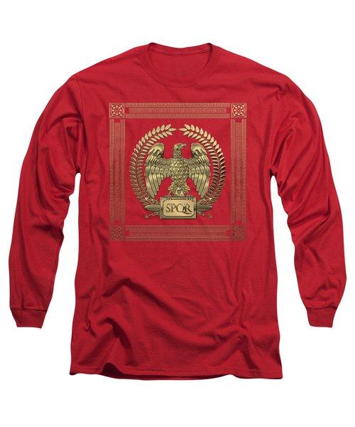 Roman Empire - Gold Imperial Eagle Over Red Velvet Long Sleeve T-Shirt
