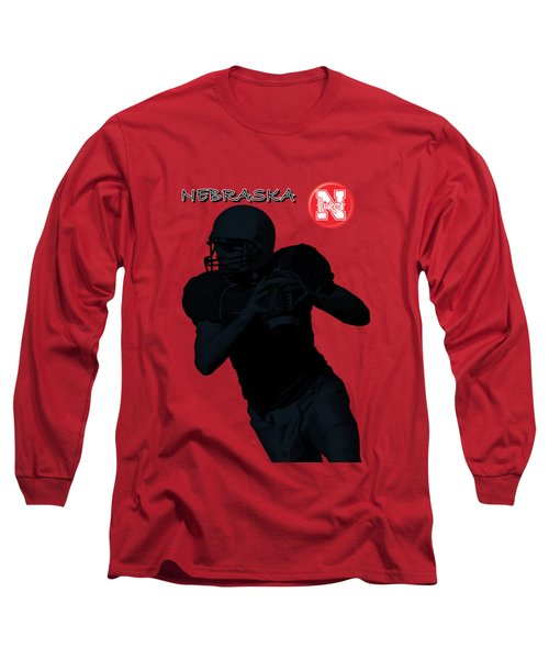 Long Sleeve T-Shirt featuring the digital art Nebraska Football by David Dehner