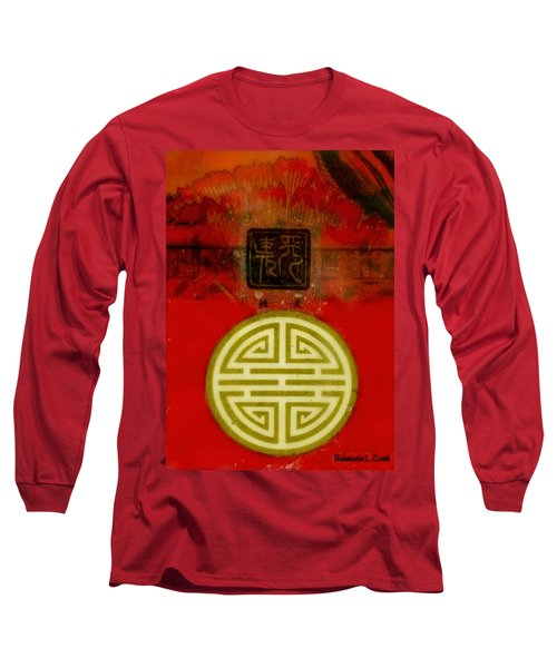 Asian Red Encaustic Long Sleeve T-Shirt by Bellesouth Studio