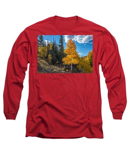 Aspen Tree In Fall Colors San Juan Mountains, Colorado. Long Sleeve T-Shirt by John Brink