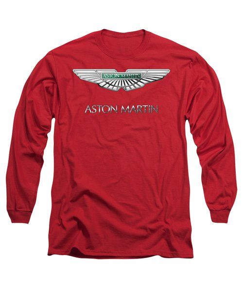 Aston Martin - 3 D Badge On Red Long Sleeve T-Shirt by Serge Averbukh