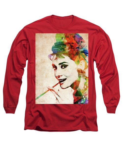 Audrey Hepburn Colorful Portrait Long Sleeve T-Shirt