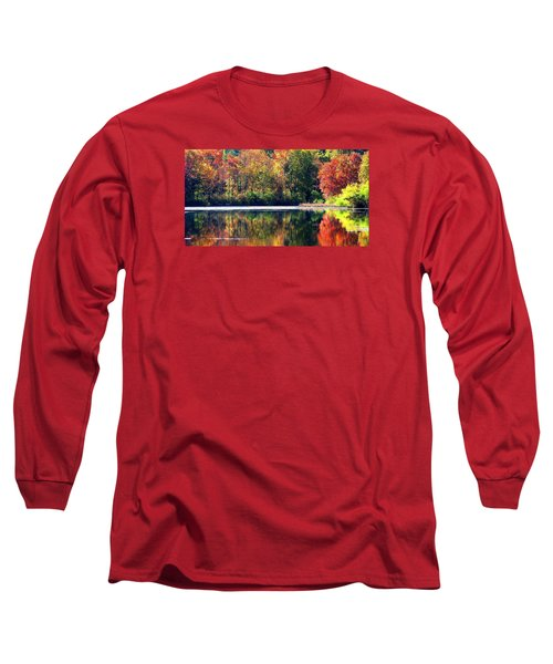 Long Sleeve T-Shirt featuring the photograph Autumn At Laurel Lake by Angela Davies