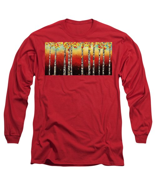 Long Sleeve T-Shirt featuring the painting Autumn Birch Trees by Carmen Guedez