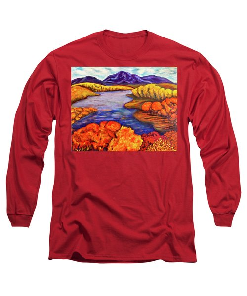 Long Sleeve T-Shirt featuring the painting Autumn Hues by Rae Chichilnitsky