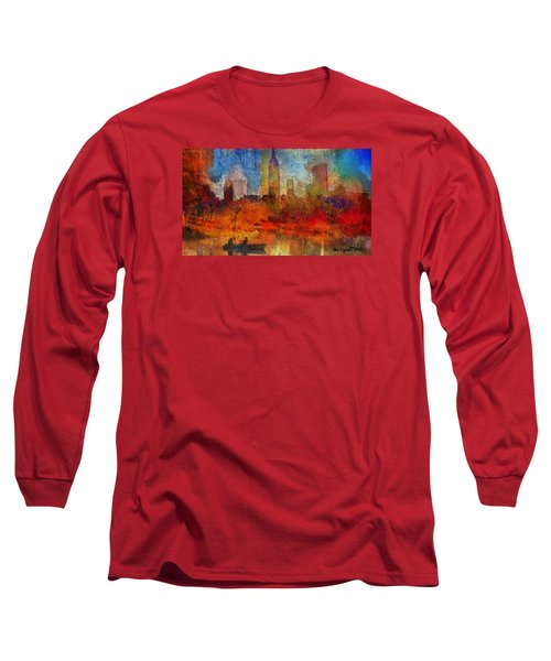 Long Sleeve T-Shirt featuring the painting Autumn In New York by Ted Azriel