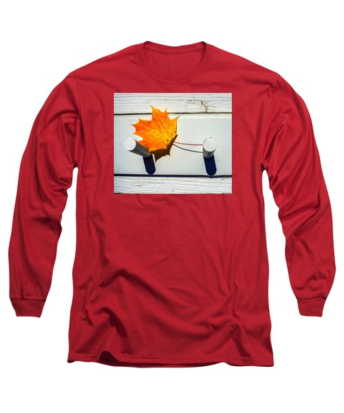 Long Sleeve T-Shirt featuring the photograph Autumn Leaf On Pegs by Gary Slawsky