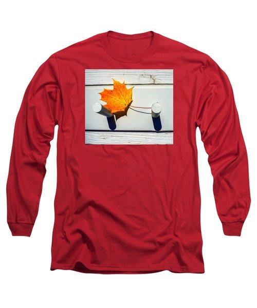 Autumn Leaf On Pegs Long Sleeve T-Shirt by Gary Slawsky