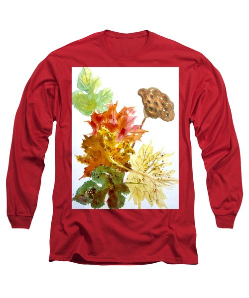 Autumn Leaves Still Life Long Sleeve T-Shirt by Ellen Levinson