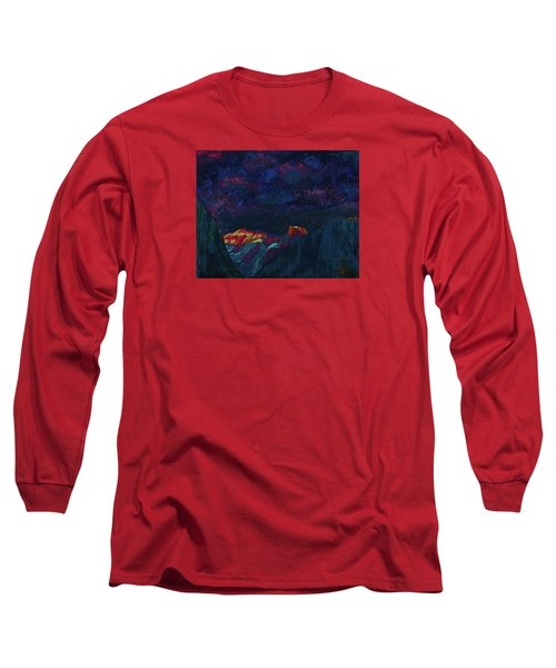 Long Sleeve T-Shirt featuring the mixed media Autumn Sunset Over Half Dome 2013 B by Walter Fahmy