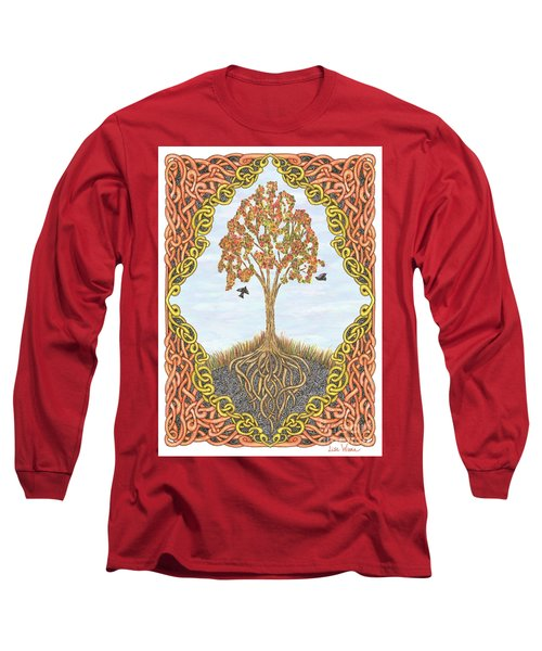 Autumn Tree With Knotted Roots And Knotted Border Long Sleeve T-Shirt by Lise Winne