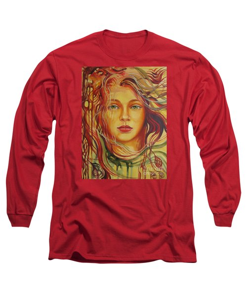Long Sleeve T-Shirt featuring the painting Autumn Wind 2 by Elena Oleniuc