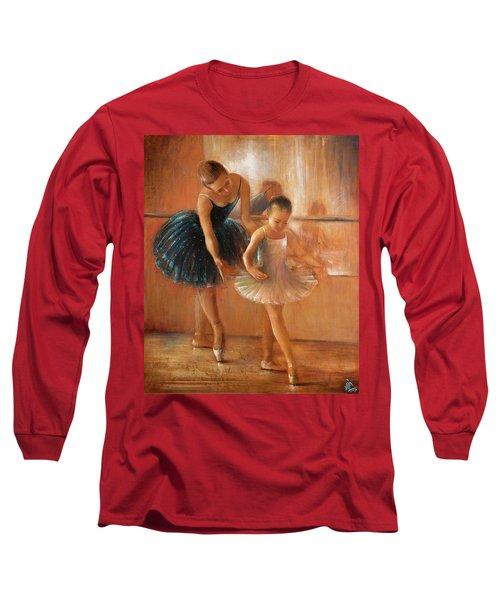 ballet lesson-painting on leather by Vali Irina Ciobanu  Long Sleeve T-Shirt