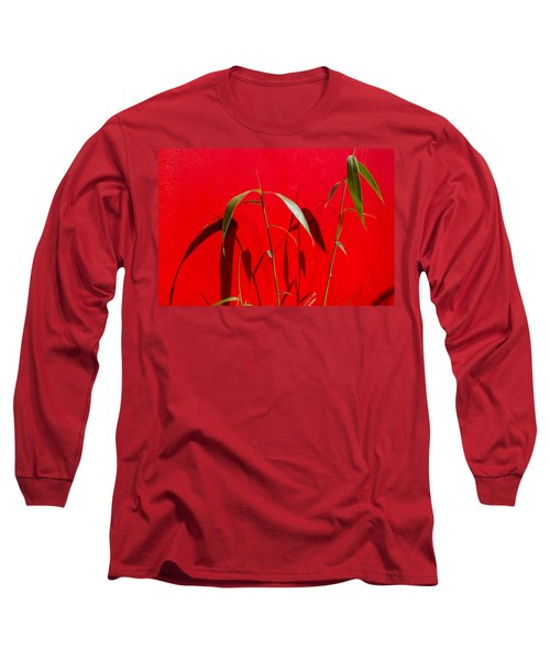 Bamboo Against Red Wall Long Sleeve T-Shirt