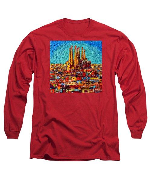 Barcelona Abstract Cityscape - Sagrada Familia Long Sleeve T-Shirt by Ana Maria Edulescu