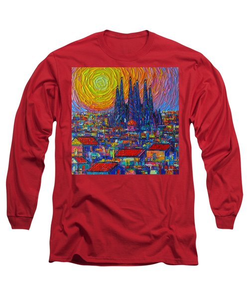 Barcelona Colorful Sunset Over Sagrada Familia Abstract City Knife Oil Painting Ana Maria Edulescu Long Sleeve T-Shirt