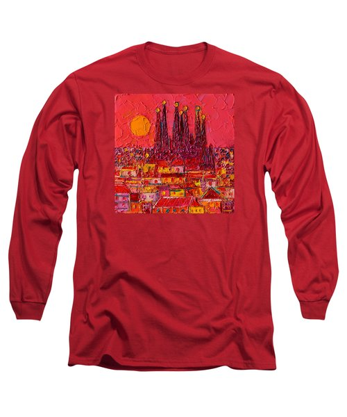 Barcelona Moon Over Sagrada Familia - Palette Knife Oil Painting By Ana Maria Edulescu Long Sleeve T-Shirt