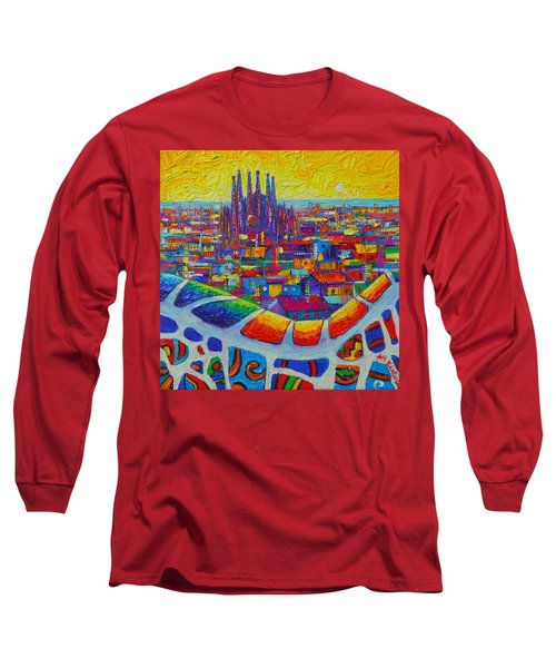 Barcelona View Sagrada From Park Guell Impressionist Abstract City Knife Painting Ana Maria Edulescu Long Sleeve T-Shirt