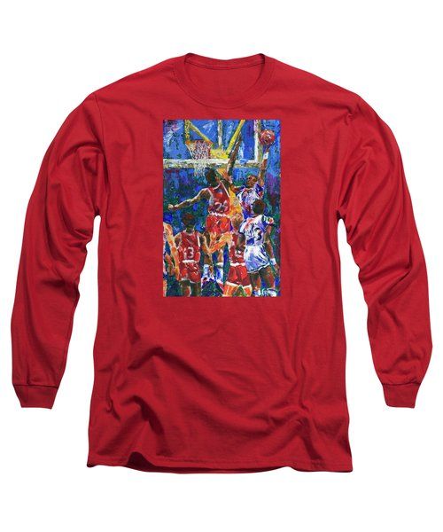 Long Sleeve T-Shirt featuring the painting Basketball 1970s by Walter Fahmy